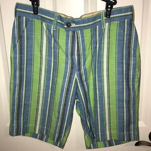 Loudmouth Shorts Blue Green Striped Size 32